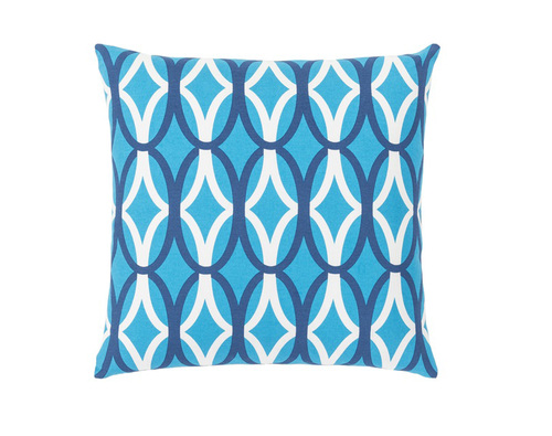 """22"""" Sky Blue and White Square Throw Pillow - IMAGE 1"""