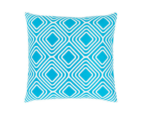"""22"""" Sky Blue and White Square Woven Throw Pillow - Down Filler - IMAGE 1"""