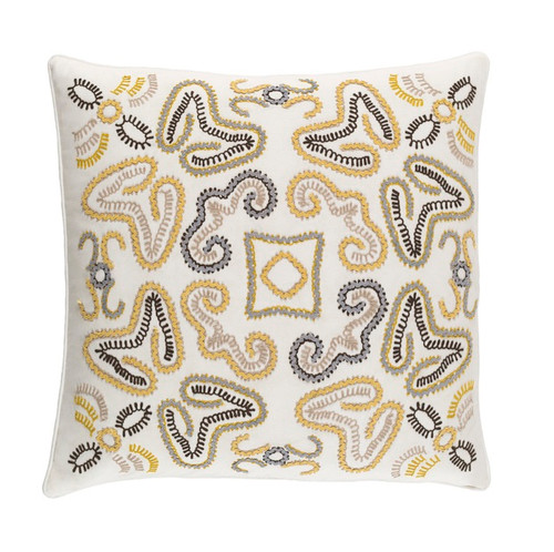 """22"""" White and Yellow Embroidered Square Throw Pillow - IMAGE 1"""