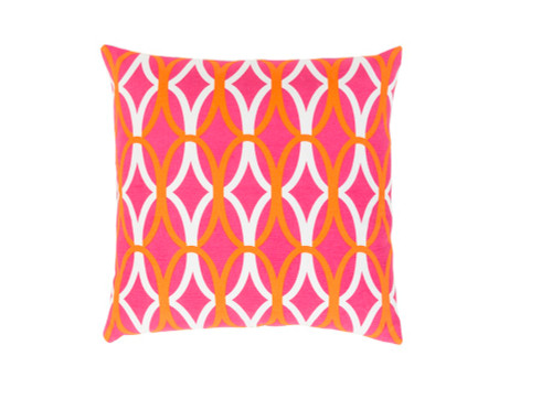 """22"""" Orange and Pink Square Throw Pillow - Down Filler - IMAGE 1"""