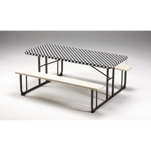 """Club Pack of 12 Black and White Checkered Disposable Plastic Picnic Party Table Covers 72"""" - IMAGE 1"""