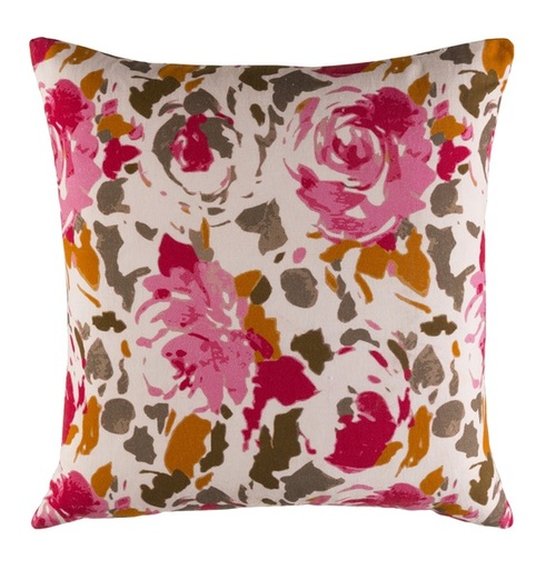 "18"" Pink and White Blooming Raspberry Square Throw Pillow - IMAGE 1"