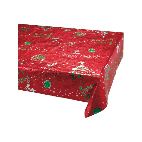 """Pack of 6 Red and Green """"Happy Holidays"""" Rectangular Christmas Banquet Party Table Cloths 108"""" - IMAGE 1"""