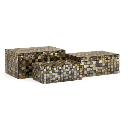 """Set of 3 Decorative Neutral Glass and Mirrored Tiles Noida Mosaic Lidded Boxes, 9.5"""" - IMAGE 1"""