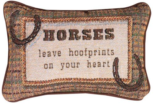 """12.5"""" Brown and Pink """"Horses"""" Rectangular Throw Pillow - IMAGE 1"""
