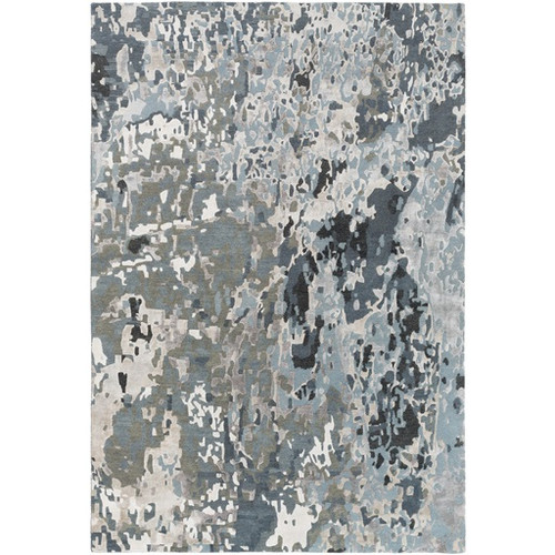 8' x 10' Stone Gray and Charcoal Black Distressed Rectangular Area Throw Rug - IMAGE 1