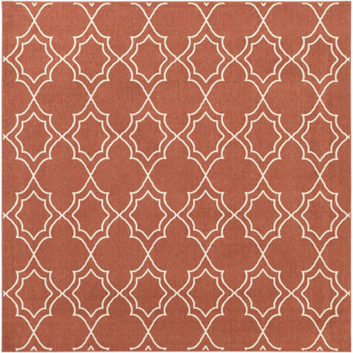 8.75' Red and White Contemporary Square Area Throw Rug - IMAGE 1