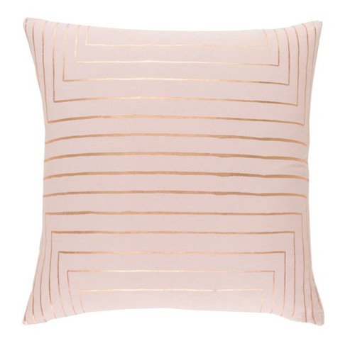 """20"""" Pink and Gold Square Throw Pillow - Down Filler - IMAGE 1"""