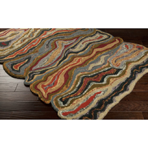 """3'3"""" x 5'3"""" Capas Burgundy Red and Forest Green Plush Hand Tufted Wool Area Throw Rug - IMAGE 1"""