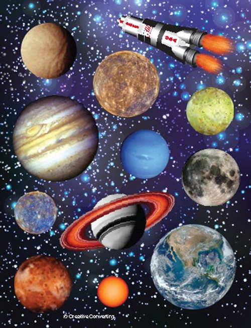 Pack of 48 Blue and Brown Outer Space Blast Value Stickers - IMAGE 1