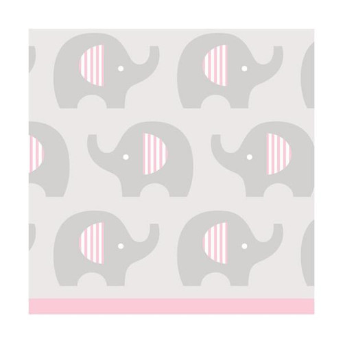 """Club Pack of 192 Pink and Gray Little Peanut Girl Baby Shower 2-Ply Beverage Napkins 5"""" - IMAGE 1"""