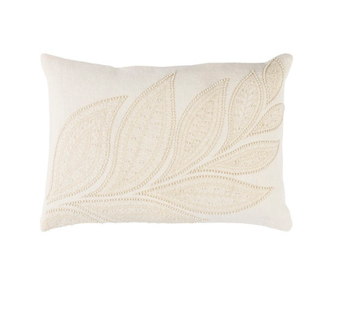 """13"""" x 19"""" White and Ivory Beaded Square Throw Pillow - Down Filler - IMAGE 1"""