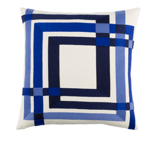 """20"""" Navy Blue and White Decorative Square Throw Pillow - Down Filler - IMAGE 1"""
