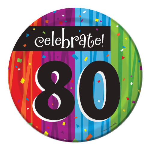 "Club Pack of 96 Milestone Celebrations ""Celebrate 80"" Disposable Paper Party Lunch Plates 7"" - IMAGE 1"