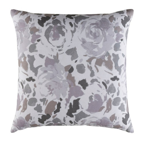 "18"" Gray and White Blooming Raspberry Square Throw Pillow - IMAGE 1"