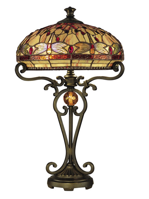 """24"""" Antique Golden Sand Briar Dragonfly Hand Crafted Glass Tiffany-Style Table Lamp - IMAGE 1"""