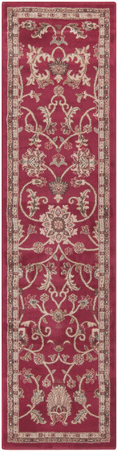 2' x 7.25' Floral Red and Olive Green Shed-Free Rectangular Area Throw Rug Runner - IMAGE 1
