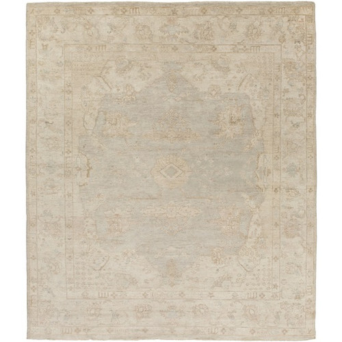 8' x 10' Gray and Brown Hand Knotted Rectangular Wool Area Throw Rug - IMAGE 1