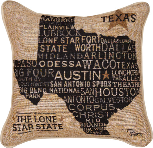 """17"""" Brown and Black Lone Star State of Texas Tapestry Square Throw Pillow - IMAGE 1"""