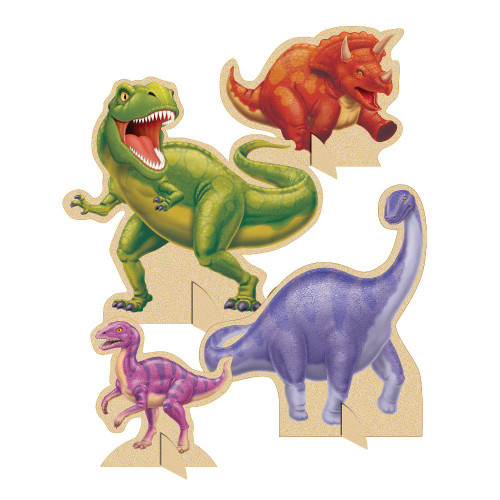 """Club Pack of 12 Green Dino Blast Cutouts and Standup Centerpieces 12"""" - IMAGE 1"""