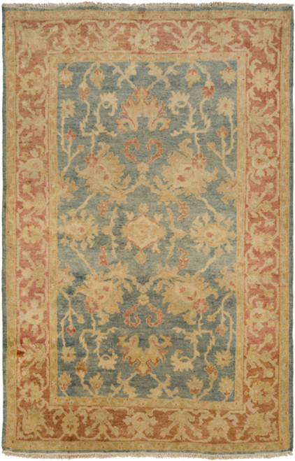 5.5' x 8.5' Entwined Delight Orange and Olive Green Hand Knotted Wool Area Throw Rug - IMAGE 1