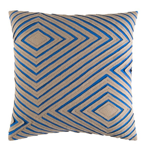 """20"""" Blue Square Woven Throw Pillow - Down Filler - IMAGE 1"""