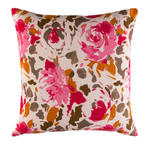 """20"""" Pink and White Blooming Raspberry Square Throw Pillow - Down Filler - IMAGE 1"""