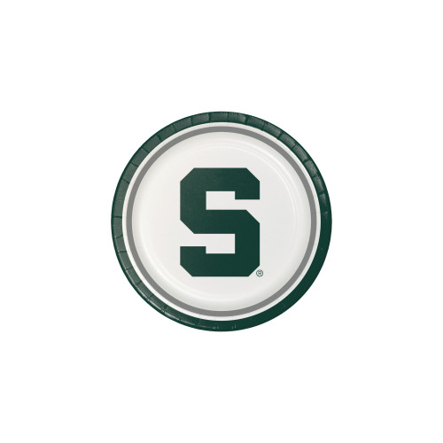 Pack of 96 NCAA Michigan State Spartans Round Tailgate Party Paper Dinner Plates - IMAGE 1