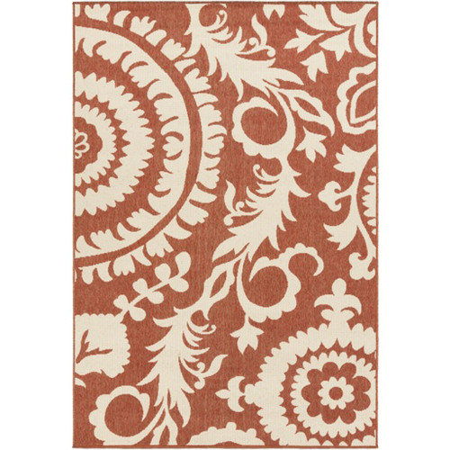8.75' x 12.75' Brown and Beige Floral Shed-Free Rectangular Area Throw Rug - IMAGE 1