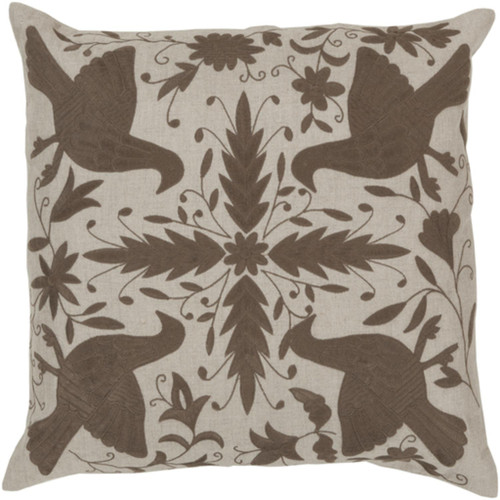 "22"" Abalone Gray and Espresso Brown Square Throw Pillow - Down Filler - IMAGE 1"
