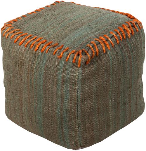 "18"" Burnt Orange and Oak Stitched Top Jute Square Pouf Ottoman - IMAGE 1"
