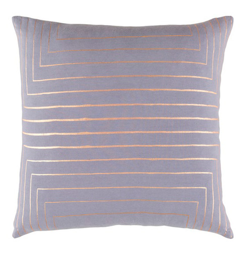 """22"""" Purple and Gold Contemporary Square Throw Pillow - Down Filler - IMAGE 1"""
