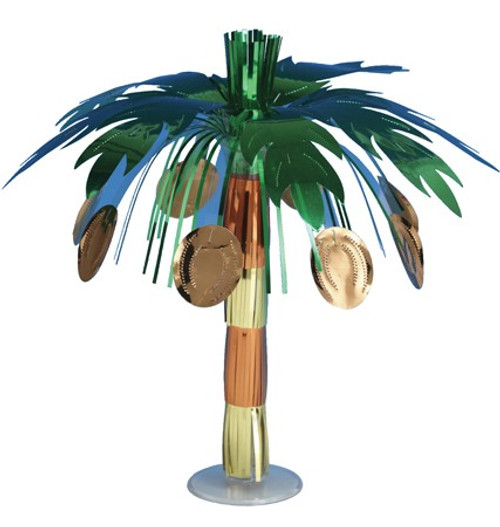 "Club Pack of 12 Metallic Coconut Tree Mini Foil Luau Party Centerpieces 10.5"" - IMAGE 1"