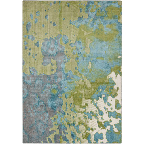 2' x 3' Contemporary Steel Blue and Green Rectangular Area Throw Rug - IMAGE 1