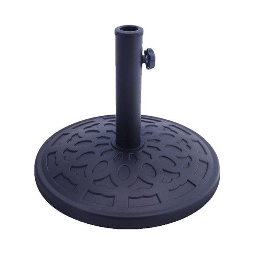 """16.5"""" Matte Black Resin and Marble Outdoor Patio Umbrella Base - IMAGE 1"""