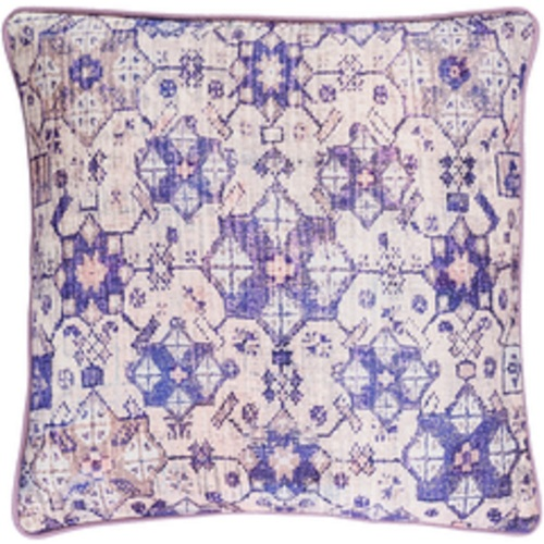 "22"" Purple and White Geometric Square Throw Pillow - Down Filler - IMAGE 1"