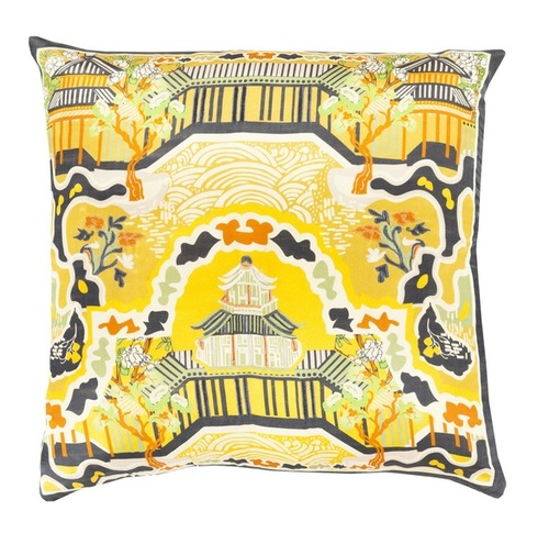 """22"""" Butterscotch Yellow and Black Decorative Square Throw Pillow - Down Filler - IMAGE 1"""