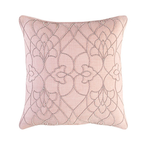 """20"""" Pink and Ivory Modish Western Woven Throw Pillow - Down Filler - IMAGE 1"""