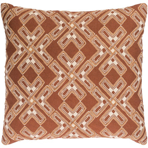 "22"" City Snowflakes Milk Chocolate Brown and Eggshell White Square Throw Pillow - Poly Filled - IMAGE 1"