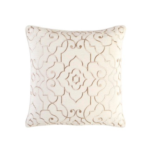 """20"""" Beige and Gold Embroidered Square Throw Pillow - IMAGE 1"""