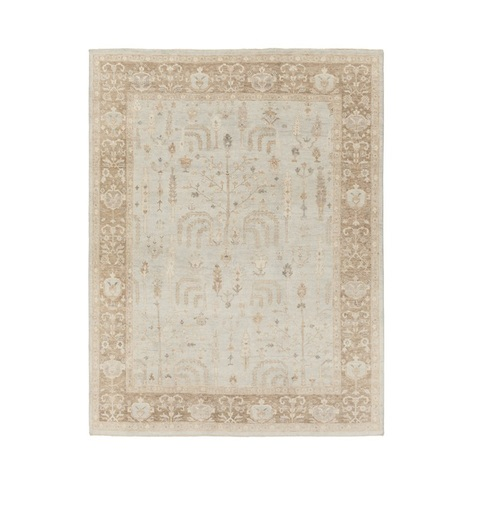 8' x 10' Antique Memories Caramel Brown and Ivory Hand Knotted Wool Area Throw Rug - IMAGE 1