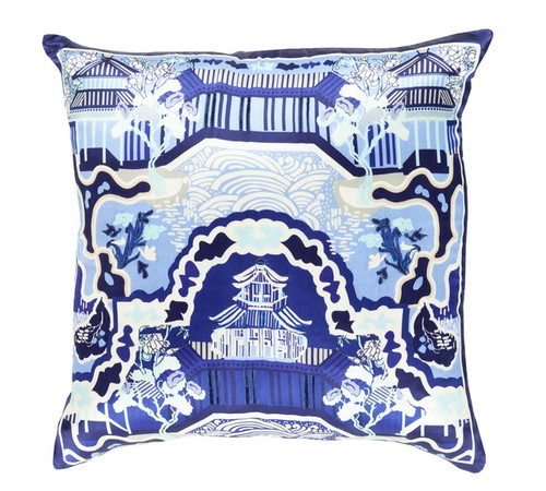 """18"""" Midnight Blue and White Decorative Square Throw Pillow - Down Filler - IMAGE 1"""