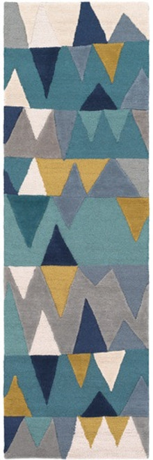 2' x 3' Blue and Green Triangles Hand Tufted Rectangular Area Throw Rug - IMAGE 1