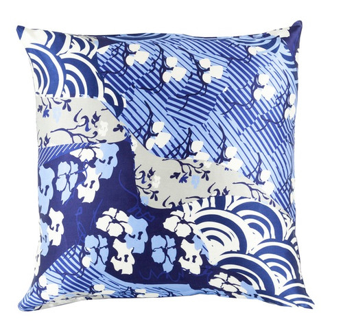 """22"""" Berry Blue and White Decorative Square Throw Pillow - Down Filler - IMAGE 1"""