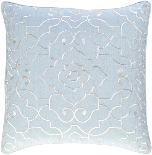 """20"""" Pale Blue and White Embroidered Square Throw Pillow - Down Filler - IMAGE 1"""