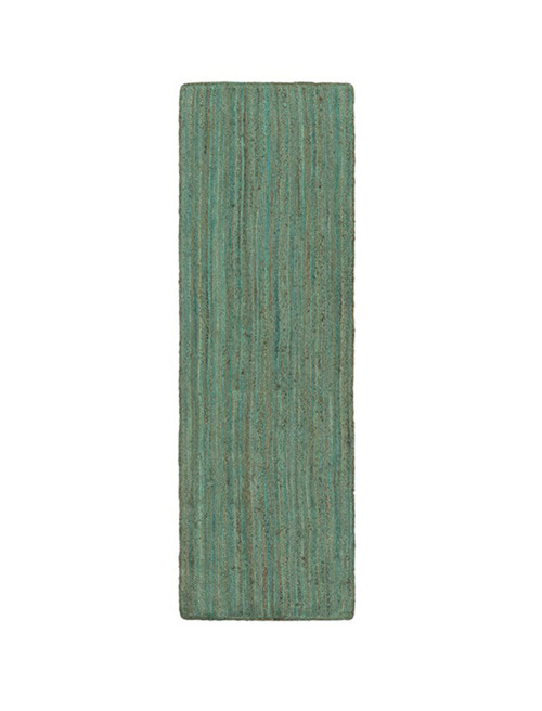 2.5' x 8' Salvageable Shore Fern Green and Liver Brown Hand Woven Reversible Area Throw Rug Runner - IMAGE 1