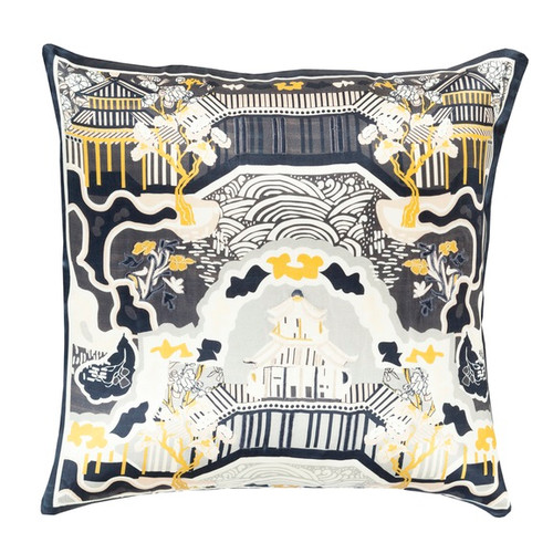 """18"""" Chalkboard Black and Cream White Decorative Square Throw Pillow - IMAGE 1"""