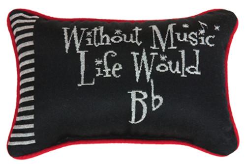 "12.5"" Black and White ""Music"" Rectangular Throw Pillow - IMAGE 1"