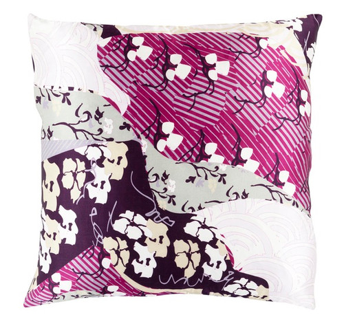 """22"""" Juice Purple and Mulberry Pink Decorative Square Throw Pillow - IMAGE 1"""
