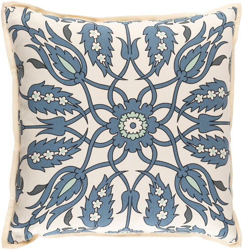 """22"""" Blue and Beige Floral Square Throw Pillow - Down Filler - IMAGE 1"""